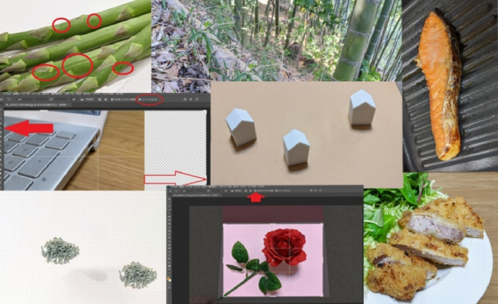 Photoshop初心者向けレタッチ練習素材8枚のビフォーアフター