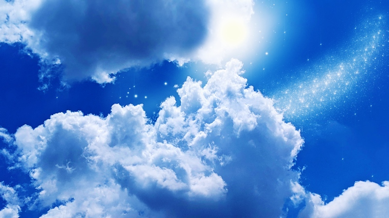 入道雲と星空の完成